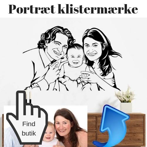 portræt-klistermærke til væg