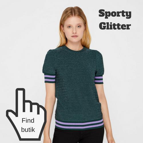 Grøn bluse sporty og glimmer til pige