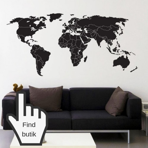 verdenskort klistermærke til væg sort hvid