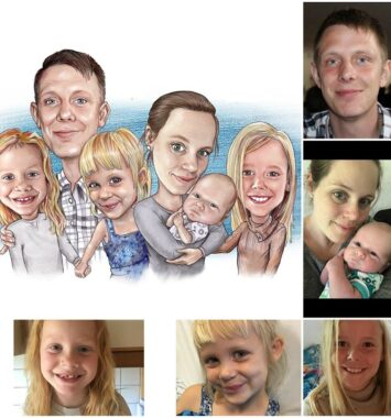 Karikatur af ham og familien