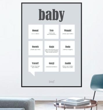 plakat med baby citat
