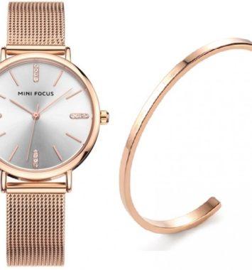 Elegant ur i rosaguld med armbånd