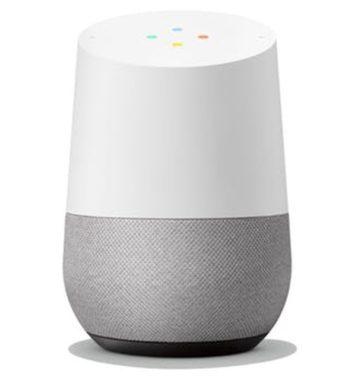 Hvid og grå google home højtaler