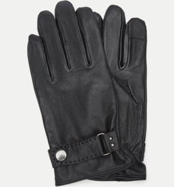 sorte laeder handsker til ham