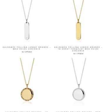 fire forskellige guld og solv halskaeder