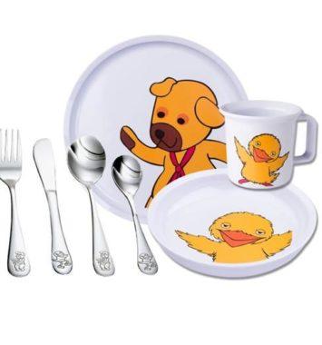 Service sæt med bamse og kylling