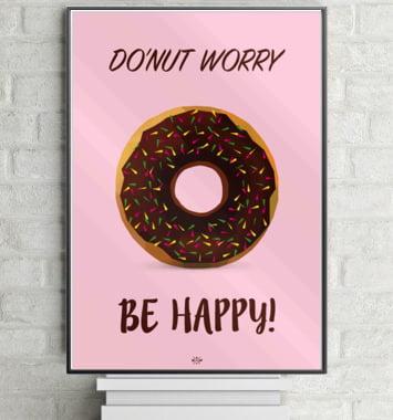pink plakat med donut