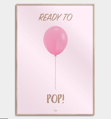 lyseroed plakat med ballon