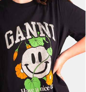 ganni. sort tshirt med print