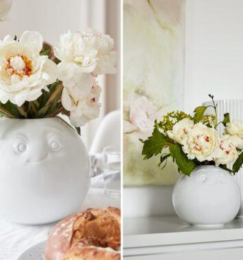 hvid vase med ansigt